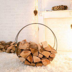 "Handcrafted Steel Firewood Ring - 24"" Diameter"
